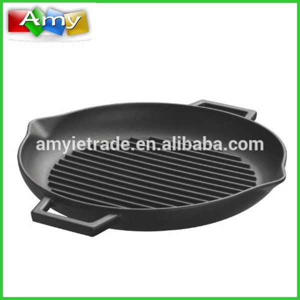 Pre-seasoned Round Cast Iron Grill Pan, Iron Qablar lehimli