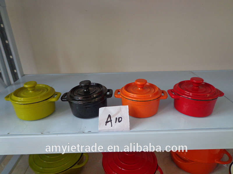 mini cast iron casserole, enameled cast iron casserole, mini cast iron cook pot