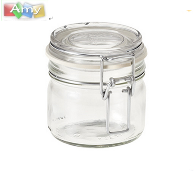 450ml 500ml 750ml 1000ml 1500ml 2000ml High quality food grade empty glass jar with glass sealed lid