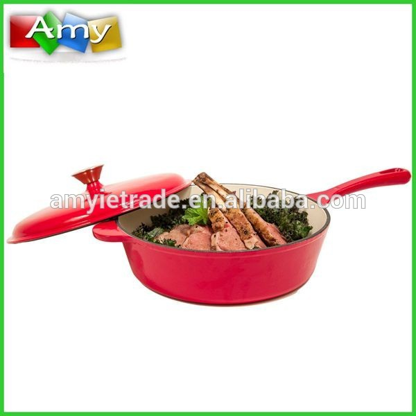 10.5-pulgada Porselana Enamel Cast Iron Chicken Fryer, Isalikway Iron cookware