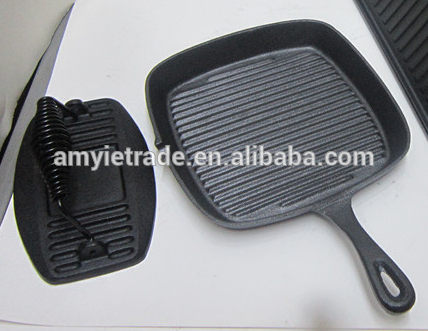 cast iron square grill pan with square meat press/cast iron cookware