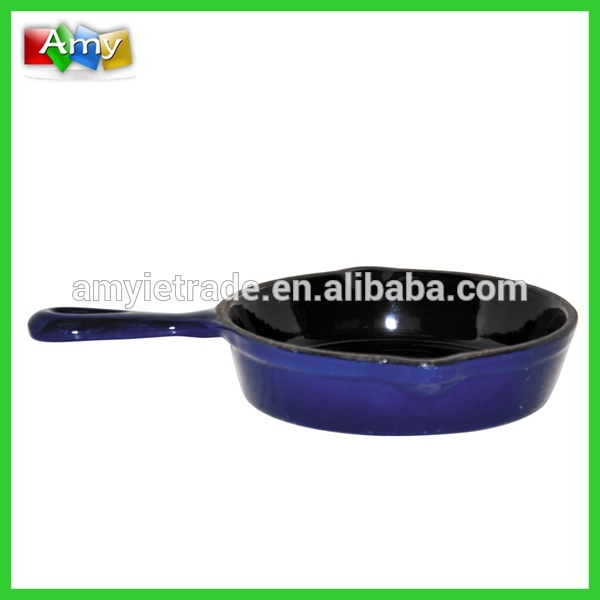 FPR11 Blue Enamel Mini Cheese Pot with Long Handle