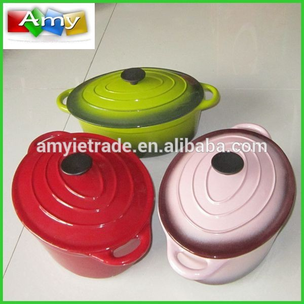 colorful enamel cast iron cookware set
