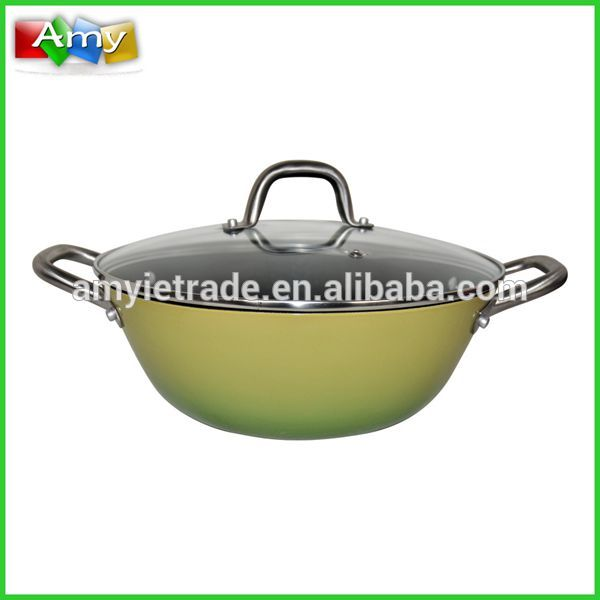 Cast Iron Wok with Stainless Handles and Glass Lid