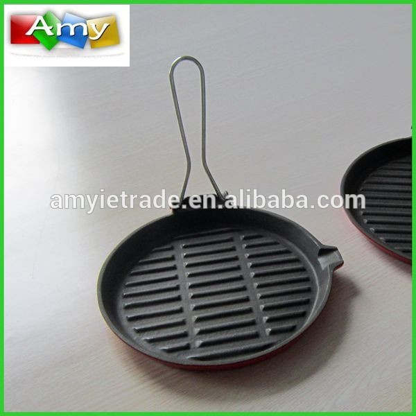 Foldable Handle Cast Iron Grill Pan