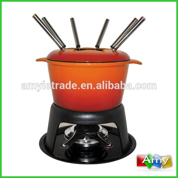 SW-606N Color Enamel Fondue Pot Set