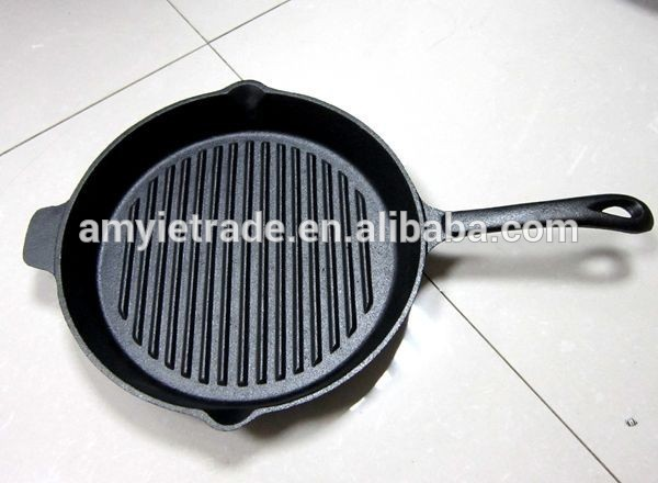 Reparto condición temperado Iron Grill Pan, fundición Steak Pan, fundición Sizzle Pan