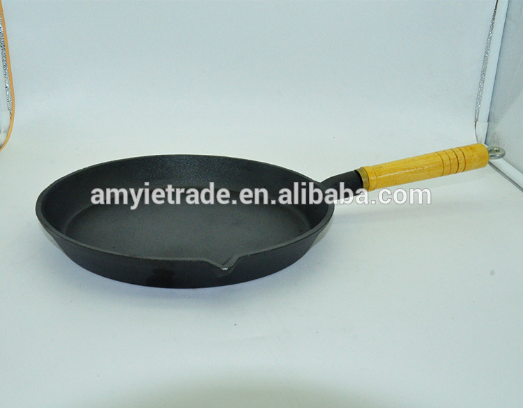 Dia 23cm, 26cm, 30cm Pre-seasoned Cast Iron Pan With Wood Handle