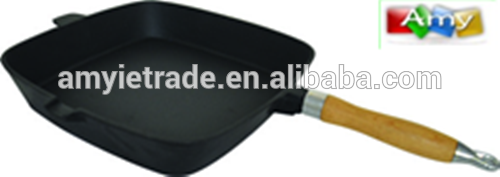 30x30cm Wood Handle Preseasoned Cast Iron Pan