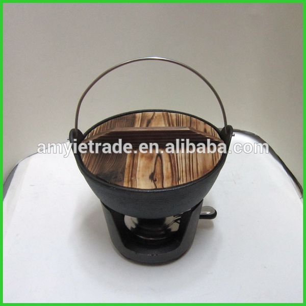SW-J220 japanese soup pot with wooden cover and stand, japanese cast iron cookware