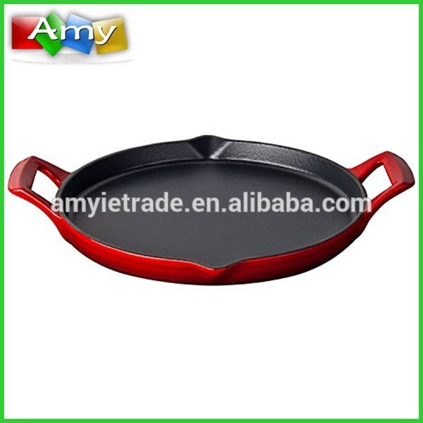Enamel Cast Iron Shallow Griddle, Cast iron Flat Griddle Pan