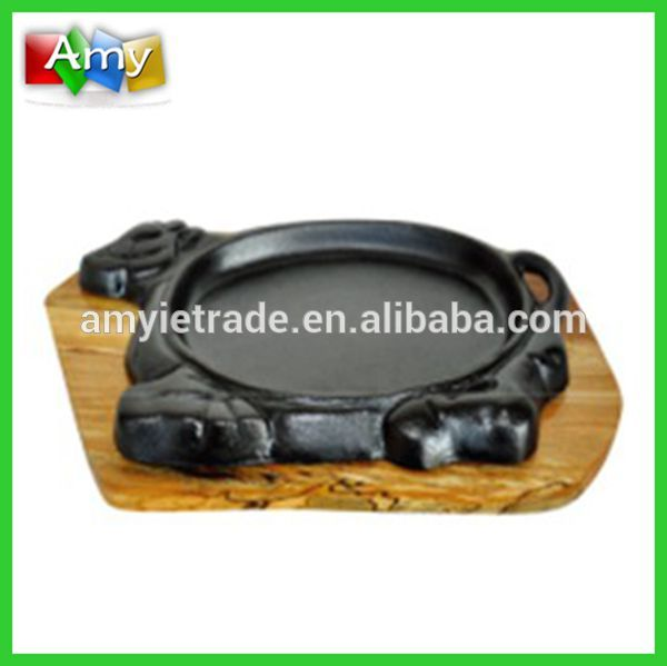 Besi Tuang Cow Shape Pan, Cast Iron Plate Sizzling, Cast Iron Alat memasak Set