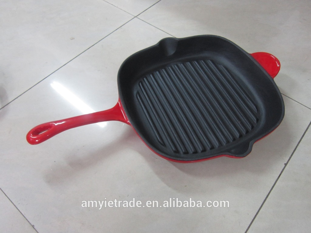 cast iron enameled fry pan/cast iron cookware