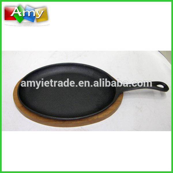 preseasoned cast iron fajita skillet, cast iron skillet with wooden tray