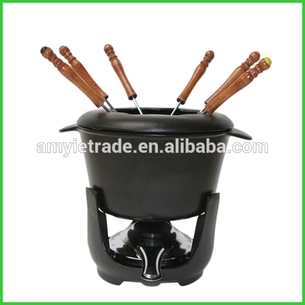 Cast Iron Fondue Set With Matte Black Finish