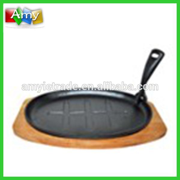 Cast Iron Sizzling Plate With Lifting Handle and Wooden Tray, Cast Iron Sizzler Plate, Cast Iron Steak Plate