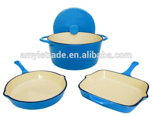 enamel cast iron cookware with 24cm stock pot, 24cm frying pan, 26cm grill pan Featured Image