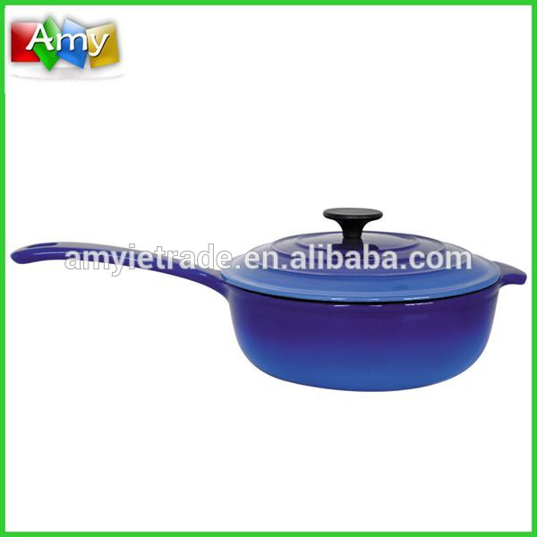 SW-CO24 Blue Enamel Shallow Stew Pot with Long Handle and Lid