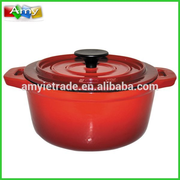 Enameled Cast Iron Casseroles, Two Handle Red Soup Pot