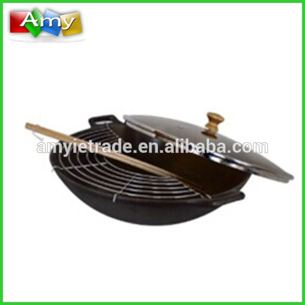hot sale cast iron chinese wok set, cast iron cookware