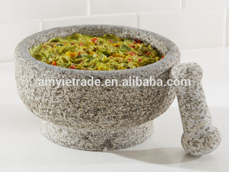 21.5cm granite stone molcajete mortar & pestle set