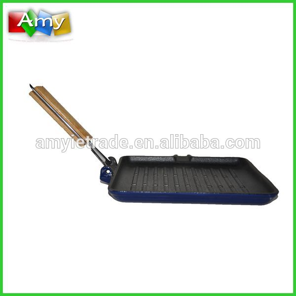SW-F064B cast iron ribed griddle / grill pan na may foldable wire handle