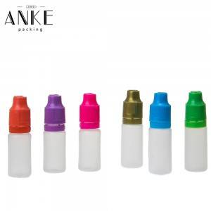 10ml TPD2 PE colorful Bottles with childproof tamper cap