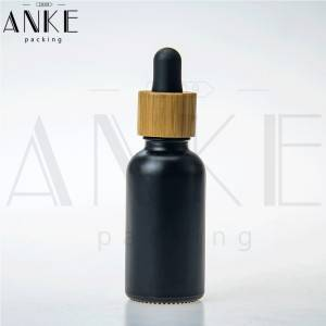 30ml CBD Black Glass Bottle with wooden color Childproof Tamper Cap