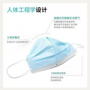 Non-woven disposable Face Mask 3ply face mask disposable with tie-on BFE>99%