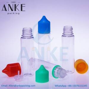 ANKE-Refill-V3: 60ml PET unicorn bottles with updated caps and screw tips