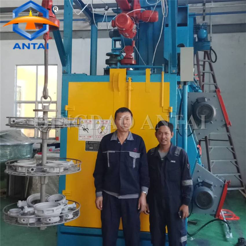 QD376 hanger hook type shot blast machine Installed in Indonesia