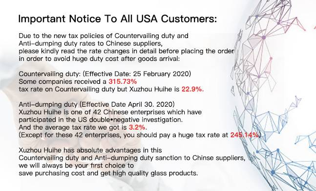 Low tax rate Antidumping Duty and Countervailing Duty Imports of Glass Containers from China White List