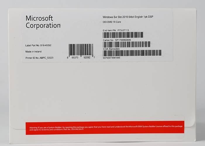 Original Authentic Windows Server 2016 OEM software Operating System Retail Box