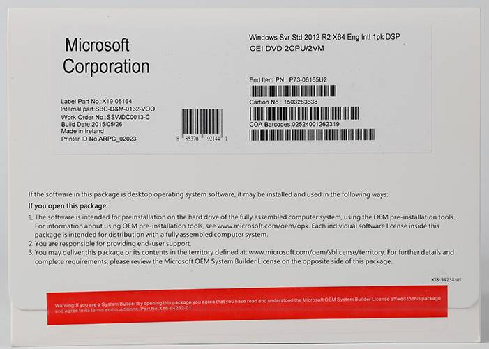 Microsoft Windows OEM licenza de Windows Server 2012 R2 Standard Edition