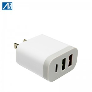 USB C Charger 3 Port USB Wall Charger Fast Charge Quick Charge 3.1A Wall Charger US Adatper Travel Adapter Mobile Phone Charger