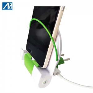 Mobile phone charger iPhone Charging Station Andorid Mobile Phone Charging Stand Foldable European Plug Organizer Holder USB Wall Charger Docking Station for Smartphone with detachable 2000mAh batt...