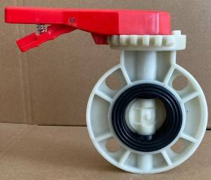 factory since 2009 handle or gearbox wafer PP polypropylene butterfly valve