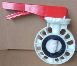 manufacturer 3inch DN80 beige body red handle wafer flange pp butterfly valve