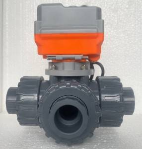 1/2″ to 2″ PTFE seat FPM seal electric motorized actuator on off type upvc 3 way ball valve