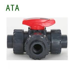 china valve factory hot sale 235PSI upvc with handle 3 way union ball valve plain spigot end 1/2″ to 2″