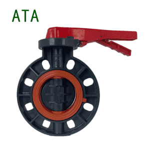 china manufacturer hot sale chemical industry use FPM VITON liner upvc lever wafer flange butterfly valve