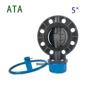 china valve company sea water use EPDM lined 5inch de125 u-pvc gearbox handwheel wafer flange butterfly valve