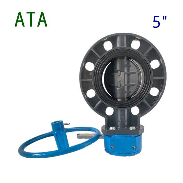 china valve company sea water use EPDM lined 5inch de125 u-pvc gearbox handwheel wafer flange butterfly valve Featured Image