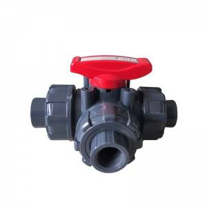 PVC 3 way ball-valve BS thread