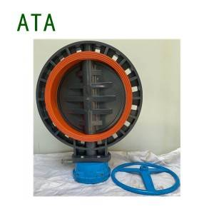 ATA brand wholesale price big size dn400 16″ FPM seat anti-corrosion u-pvc flange wafer gearbox butterfly valve flange universal