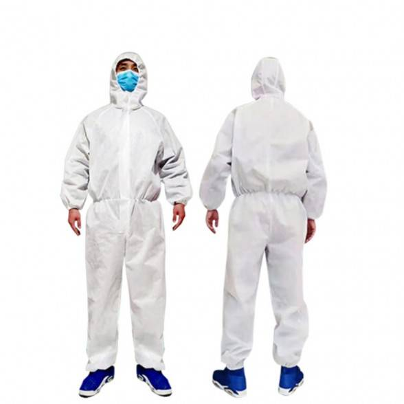 Disposable Protective Coverall Suit,Long Front Zipper,Elastic Waistband & Cuffs,Attached Hood,Isolation Suit
