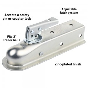 2″ Straight-Trailer Coupler With Posi-Lock (2″ Channel, 3,500 Lbs., Zinc) #JY-TC-04