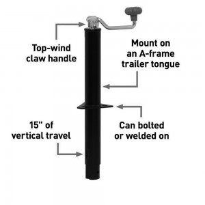 A-Frame Trailer Jack With Top Handle (5,000 Lbs., 15″ Travel) #JY-TJ-18