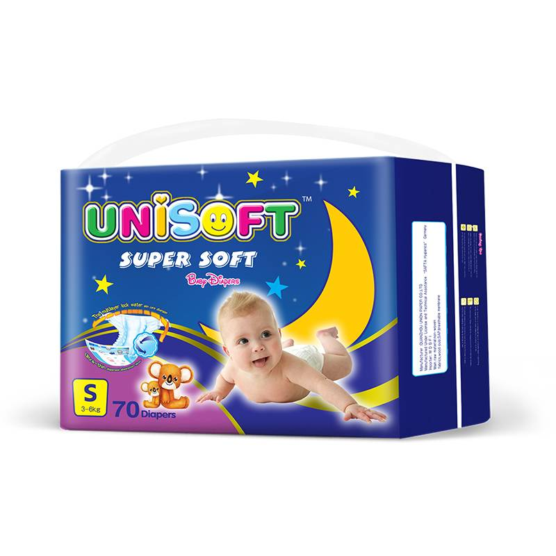 Unisoft wholesale baby nappies manufacturer  high absorbency soft care breathable organic disposable baby diapers in China