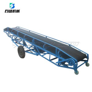 Baisheng 50kg bags Truck Loading mobile rubber belt Conveyor For Sale